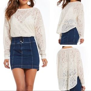 Free People Not Cold White Floral Lace Sheer Top